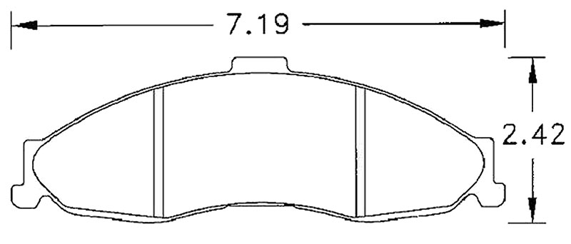 Large photo of Hawk Brake Pad, 98-02 Camaro, Firebird (D749), Pegasus Part No. HB249-Compound-Thickness