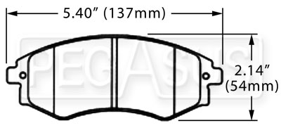 Large photo of Hawk Brake Pad, 97-01 Hyundai Tiburon, Kia (D700), Pegasus Part No. HB261-Compound-Thickness