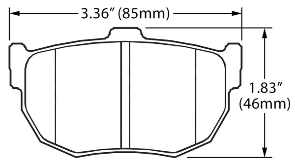Large photo of Hawk Brake Pad, Hyundai Tiburon, Nissan Rear (D272), Pegasus Part No. HB262-Compound-Thickness