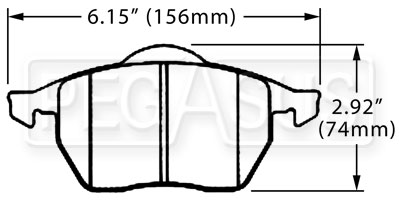 Large photo of Hawk Brake Pad, Audi, VW Passat (D555), Pegasus Part No. HB269-Compound-Thickness