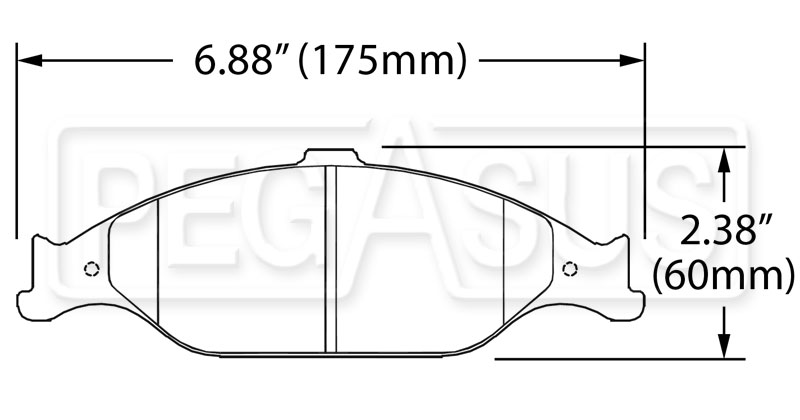 Large photo of Hawk Brake Pad, 99-04 Ford Mustang (D804), Pegasus Part No. HB274-Compound-Thickness