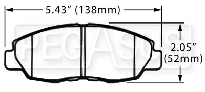 Large photo of Hawk Brake Pad, Acura, Honda (D465), Pegasus Part No. HB275-Compound-Thickness
