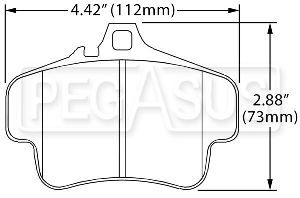 Large photo of Hawk Brake Pad, Porsche Rear (D738), Pegasus Part No. HB290-Compound-Thickness