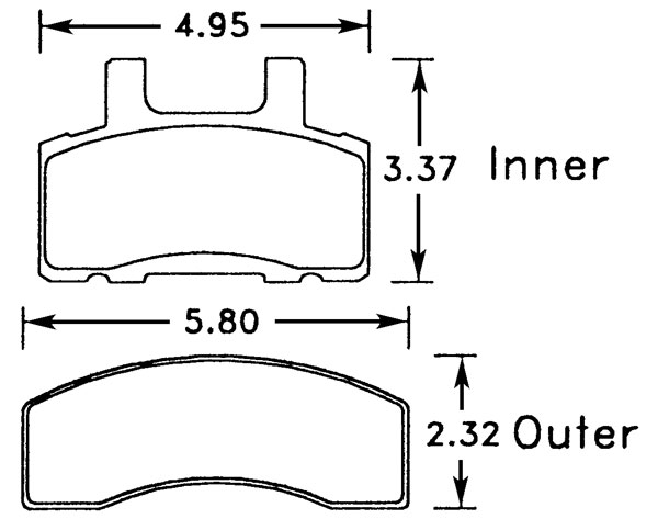 Large photo of Hawk Brake Pad, Chevy/GMC, Dodge Truck (D370), Pegasus Part No. HB296-Compound-Thickness