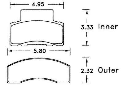 Large photo of Hawk Brake Pad, Chevy/GMC, Dodge Truck (D459), Pegasus Part No. HB298-Compound-Thickness