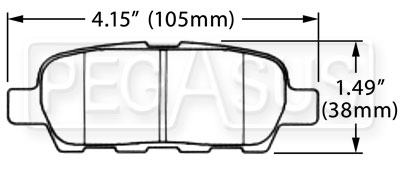 Large photo of Hawk Brake Pad, 2003-08 Nissan 350Z Rear (D905), Pegasus Part No. HB370-Compound-Thickness