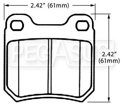 Large photo of Hawk Brake Pad, SAAB, Saturn Rear (D709), Pegasus Part No. HB389-Compound-Thickness