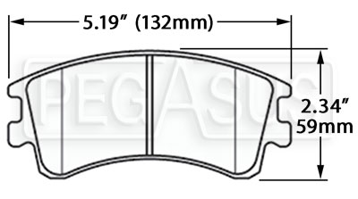 Large photo of Hawk Brake Pad, 03-06 Mazda 6 (D957), Pegasus Part No. HB459-Compound-Thickness