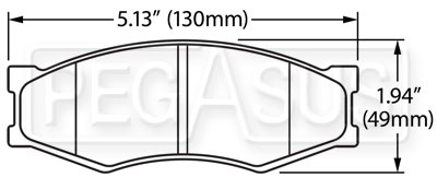 Large photo of Hawk Brake Pad: 84-89 Nissan 300ZX (D266), Pegasus Part No. HB475-Compound-Thickness