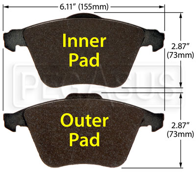 Large photo of Hawk Brake Pad: Audi, Volvo, VW CC VR6 (D915), Pegasus Part No. HB515-Compound-Thickness