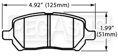 Large photo of Hawk Brake Pad, Chevrolet Cobalt, Saturn Ion (D956), Pegasus Part No. HB517-Compound-Thickness
