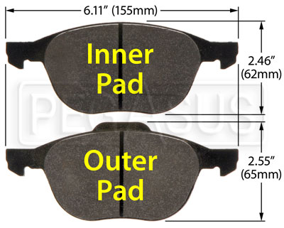 Large photo of Hawk Brake Pad: Mazda 3, 5 (D1044), Pegasus Part No. HB519-Compound-Thickness