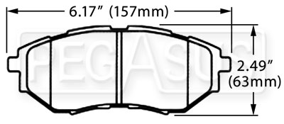 Large photo of Hawk Brake Pad, Subaru Legacy GT, Tribeca (D1078), Pegasus Part No. HB533-Compound-Thickness