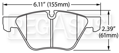 Large photo of Hawk Brake Pad: BMW Z4 (D1061), Pegasus Part No. HB534-Compound-Thickness