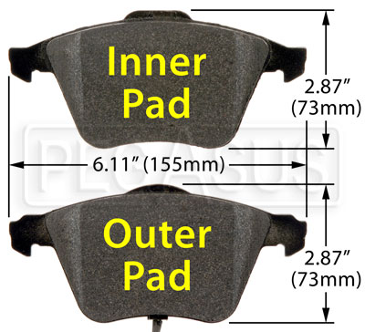 Large photo of Hawk Brake Pad, Audi, VW, Volvo front (D1111, D915), Pegasus Part No. HB538-Compound-Thickness