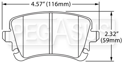 Large photo of Hawk Brake Pad: Audi, VW (D1107), Pegasus Part No. HB543-Compound-Thickness