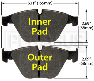 Large photo of Hawk Brake Pad: 08-10 BMW M3 (D918), Pegasus Part No. HB551-Compound-Thickness