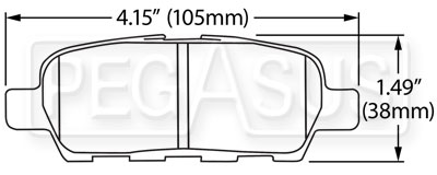 Large photo of Hawk Brake Pad: Infiniti G35 Sport, G37 (D1288), Pegasus Part No. HB600-Compound-Thickness