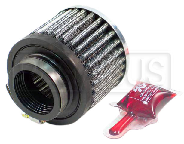 Large photo of K&N Rubber Base Crankcase Vent Filter, 2.5 H x 3.0 D, 1.5 ID, Pegasus Part No. KN 62-1460