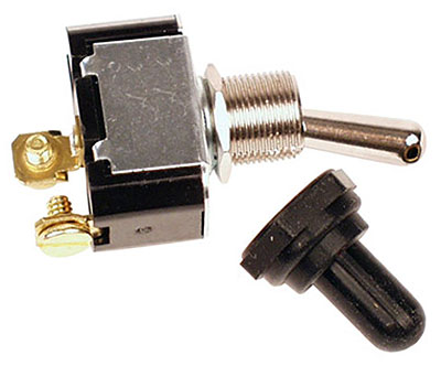 Large photo of Toggle Switch w/ Dust Boot, SPST - 40 Amp, Screw Terminals, Pegasus Part No. LA45420
