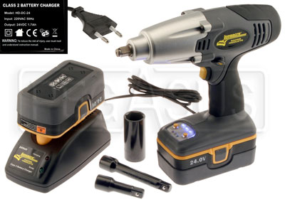 Large photo of Metric Cordless Impact Gun Kit with International Charger, Pegasus Part No. LA68604M