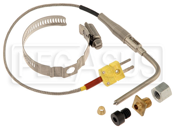 Large photo of AiM Open-Tip EGT Thermocouple with Weld Bung and Clamp, Pegasus Part No. MC-214