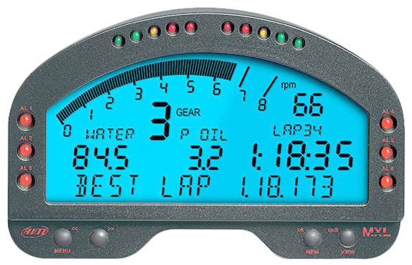 Large photo of AiM MXL Pista High Performance Digital Dash, Pegasus Part No. MC-240