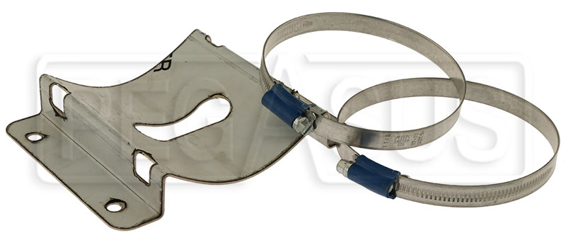 Large photo of OMP 100mm 0.9L Fire Bottle Support Bracket with Straps, Pegasus Part No. OMP-CD400
