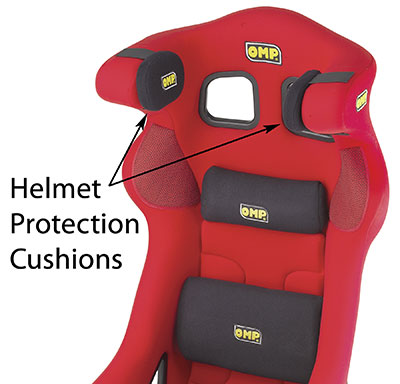 Large photo of OMP Helmet Cushions for OMP Seat (pair), Black only, Pegasus Part No. OMP-HB/697-Color