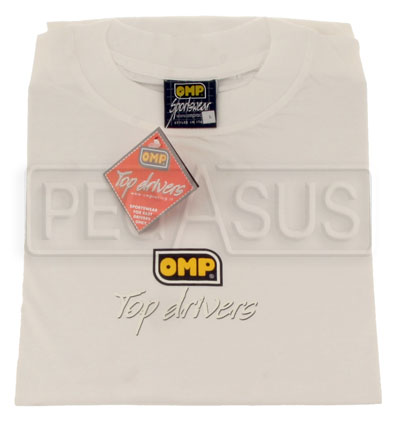 "Large photo of OMP ""Top Drivers"" T-Shirt, specify size and color, Pegasus Part No. OMP-OR5203-Size-Color"