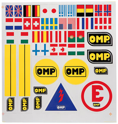 Auto Racing Supplies on Large Photo Of Omp Decal Assortment Sheet  Pegasus Part No  Omp X846