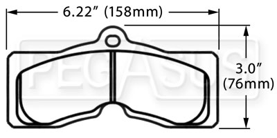 Large photo of PFC Racing Brake Pad, 67-82 Corvette, 67-68 Firebird (D8), Pegasus Part No. PF008-Size