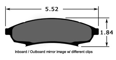 Large photo of PFC Street Brake Pad, Carbon Metallic, Olds Cutlass (D376), Pegasus Part No. PF376Z