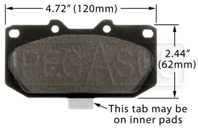 Large photo of PFC Racing Brake Pad, 90-96 Nissan 300ZX, Subaru STi 4-pot, Pegasus Part No. PF460-Size