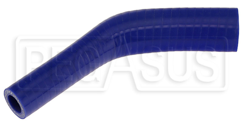 "Large photo of Blue Silicone Hose, 1"" x  5/8""  45 deg. Reducing Elbow, Pegasus Part No. RE4525.16-BLUE"