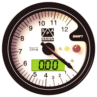 Large photo of Clearance SPA Tachometer 0-9000 RPM White Dial, Pegasus Part No. CLSPT090W