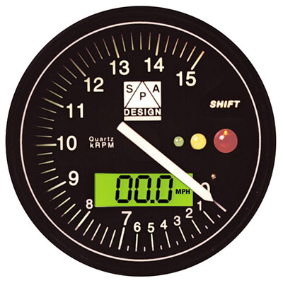 Large photo of SPA Tachometer 0-15000 RPM Black Dial, Pegasus Part No. SPT150B
