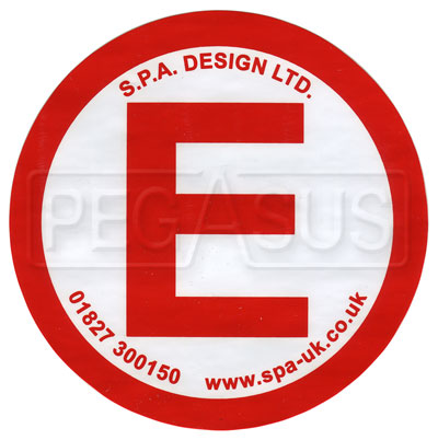 Large photo of SPA Small E Decal for Fire System Actuator, Pegasus Part No. SP 129