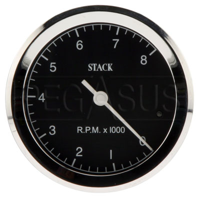 Large photo of Stack ST200C Classic Tachometer, Black Face, Pegasus Part No. ST200C-LOWRPM-MAXRPM