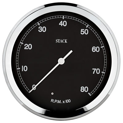 Large photo of Stack ST230C 125mm Classic Tachometer, Black Face, Pegasus Part No. ST230C-LOWRPM-MAXRPM