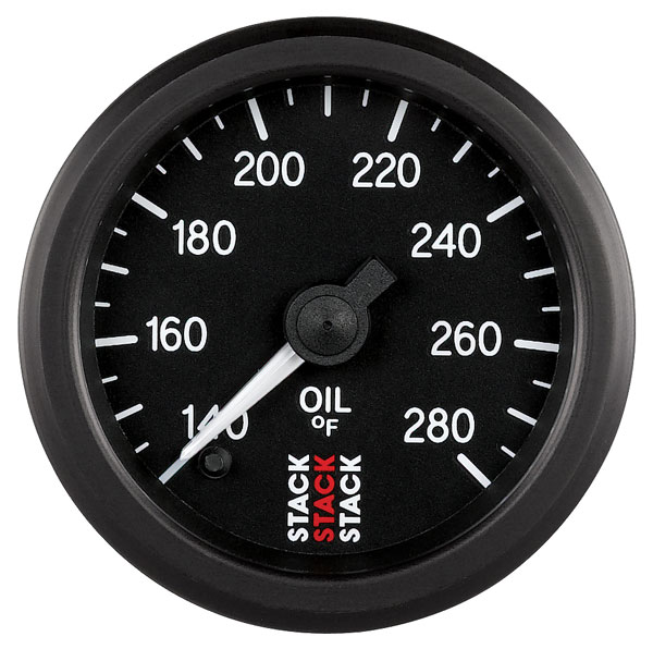 Large photo of Stack Stepper Analog Oil Temperature Gauge, 140-280 F, Pegasus Part No. ST3310