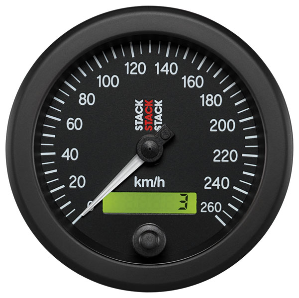 "Large photo of Stack Electric Speedometer, 0-260 km/h, Black Face, 3 3/4"", Pegasus Part No. ST3802"