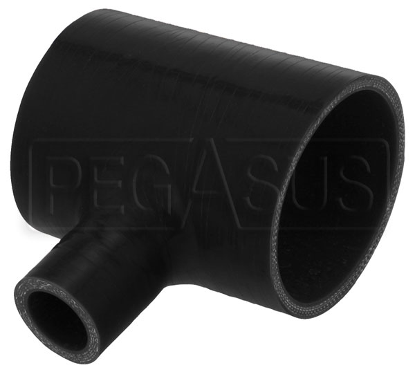 "Large photo of Black Silicone T-Hose, 76mm (3.00"") ID w/ 25mm ID Branch, Pegasus Part No. T076.025-BLACK"