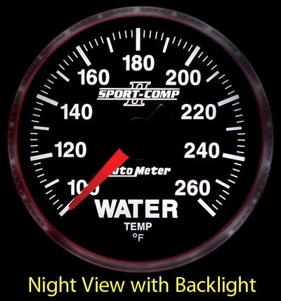 "Large photo of Sport Comp II 2 1/16"" Water Temp Gauge, 100-260 F, Electric, Pegasus Part No. AM3655"