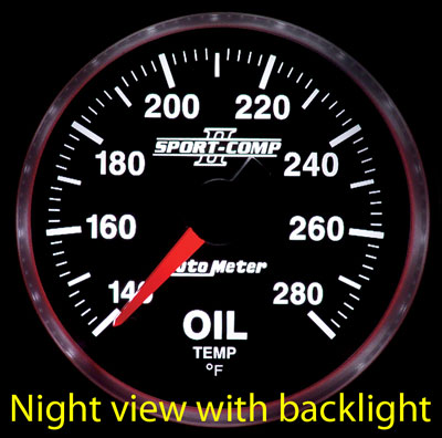 "Large photo of Sport Comp II 2 1/16"" Oil Temp Gauge, 140-280 F, Electric, Pegasus Part No. AM3656"