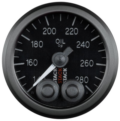 Large photo of Stack Pro-Control Oil Temperature Gauge, 140-280 F, Pegasus Part No. ST3510