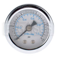 0-15psi Fuel Pressure Gauge, 1/8 NPT