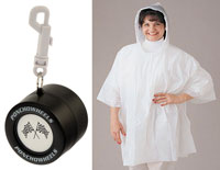 White Rain Poncho in Racing Tire Container with Belt Clip