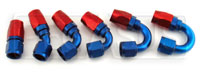 Aluminum Swivel Hose End for Steel Braided Hose, Blue - Red