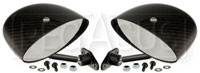 Club Series Elliptical Convex Mirrors, Carbon Fiber, Pair